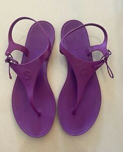 Gucci purple jelly tie up sandals, size 39, good condition