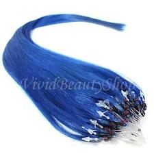 25 Micro Loop Ring Beads I Tip Indian Remy Human Hair Extensions Blue 0.8g 22""