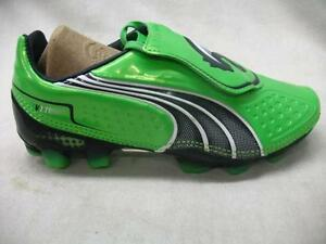 New Puma 102328 V1.11 FG Frim Ground JR Athletic Soccer Cleats Green Blue Youth
