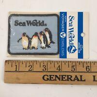 "Vintage Sea World Blue Penguin Iron On Patch Souvenir Embroidered 4"" x 3"" - NOS"