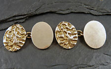 1960's Vintage Pair Of Large Heavy 9ct Gold Cufflinks - Tree Bark Textured