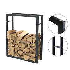 Étagère de cheminée exclusive en métal noir mat Porte bûches cheminée 80x100