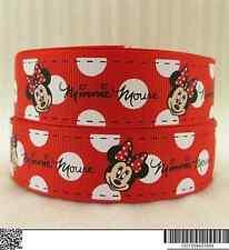 1 METRI Rosso Minnie Mouse + NASTRO BIANCO Taglia 1 in (ca. 2.54 cm) Fiocchi Cerchietto Torta di Compleanno
