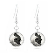 16Mm Glass Cabochon Long Earrings #444 Rooster Art Photo Tibet Silver Dome Photo