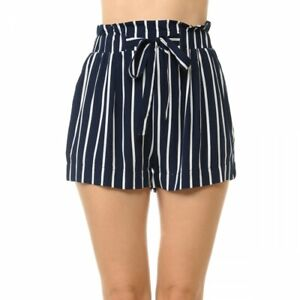 Womens Striped Tie Front High Paper Bag Waist Woven Pull On Shorts