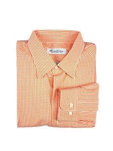 Brooks Brothers Gingham Orange Dress Shirt Size 16-36 100% Cotton
