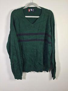 Vintage Chaps Ralph Lauren mens green striped cotton knit V neck jumper size XL