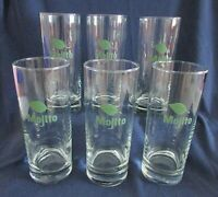 """Set Of 6 Mojito Glasses By Libbey 6"""" Tall Clear With Green """"Mojito"""" & Mint Leaf"""