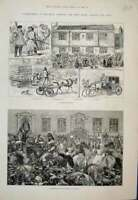 Old Antique Print Jottings Hull Processions Foresters Druids Sketch 1881 19th