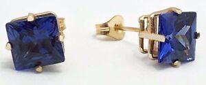 TANZANITE 3.72 Cts PRINCESS CUT EARRINGS 14K GOLD * Free shipping Service