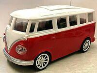RETRO CAMPER VAN RADIO REMOTE CONTROL CLASSIC RED MODEL CAR LED LIGHTS  BOXED
