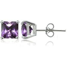 Sterling Silver Simulated Alexandrite 7mm Square Stud Earrings