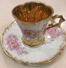 Pink & White Floral Miniature Cup Saucer Gold Lined