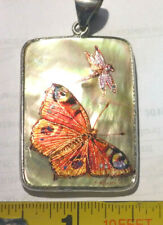 HandMade/Hand Painted Mother of Pearl PENDANT - BUTTERFLY & Dragon Fly Design