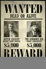 Wanted Butch Cassidy The Sundance Kid Art Print inch Poster 24x36 inch
