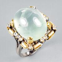 Unique Jewelry Natural Prehnite 925 Sterling Silver Ring Size 9/R122211