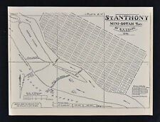 1884 Minnesota Historical Map - St. Anthony in 1848 - Mississippi River Falls MN