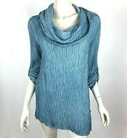 Soft Surroundings Blue Asymmetrical Gauze Tunic Top 3/4 Sleeve Cowl Women P S