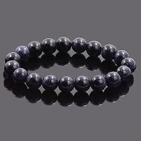 8MM Natural Blue Sandstone Beads Cuff Bangle Stretch Bracelet Wristband Unisex