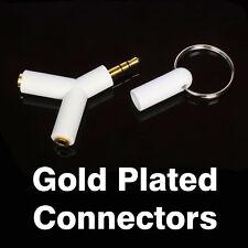 3.5mm Stereo Audio Jack Earphone Headphone 2 Way Y Splitter Adapter Keyring WHIY