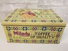 Vintage Waller Hartley Tin Box Milady Toffee Yellow England Lady Dress Floral