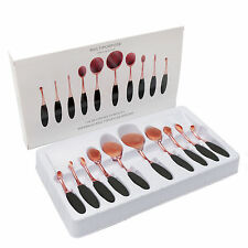 Vander 10Pcs Toothbrush Shaped Oval Rose Gold Beauty Makeup Brushes + Gift Box