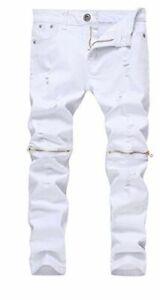 Fredd Marshall Boys 16 Slim Fit Skinny Ripped Distressed Zipper Jeans White