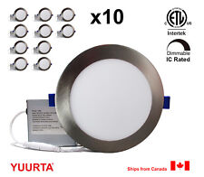 """YUURTA (10-pack) 6"""" 12W Dimmable Recessed Ceiling LED Downlight Brushed Nickel"""