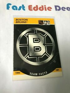 PRO SET NHL HOCKEY 1990 BOSTON BRUINS TEAM FACTS CARD 566 EXCELLENT 1990-91