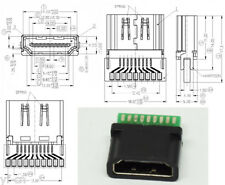4pcs HDMI 19pin Female Socket with Breadboard Black Plastic Moulded Housing
