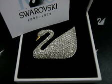 SIGNED SWAROVSKI CRYSTAL PAVE' SWAN PIN 100TH YEAR CENTENIAL RARE NEW IN BOX