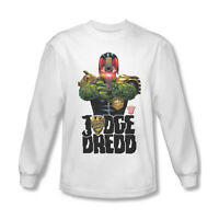 Judge Dredd Long Sleeve T-shirt cool superhero comic 100% white cotton tee JD102