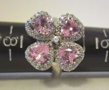 Pink Sapphire CZ Flower Ring 4.62 CT 14K White Gold EP Size 7 T C Jewelry NEW