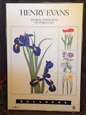 HENRY EVANS Hand Signed Mid Century Modern 1983 Floral Print Framed for Bullocks