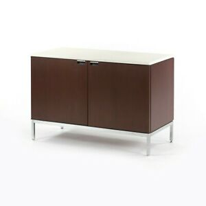 1970s Florence Knoll International 2 Door Credenza / Cabinet w White Marble Top
