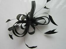 Black FASCINATOR by Juelz | Looped Net | Feather Tendrils | Comb (72A)