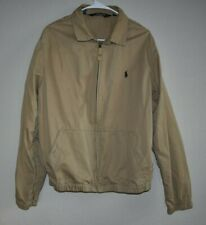 Vintage Polo Ralph Lauren Mens L Tan Harrington Jacket Coat Full Zip Collared