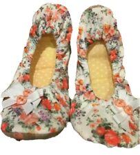 Girl's Slippers Orange & White Floral UK 12-13 TU Soft Ballerina Style