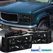94-98 GMC C10 C/K Sierra Smoke Headlights+Bumper Corner Lights+Clear Reflectors