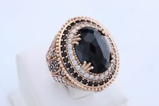 Turkish Jewelry Oval Black Onyx Topaz 925 Sterling Silver Ring Size 8.5 Q 3/4