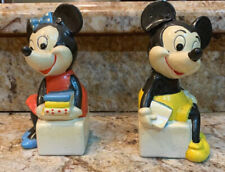 Rare Vintage Schmid Walt Disney Productions Mickey and Minnie Mouse Bookends