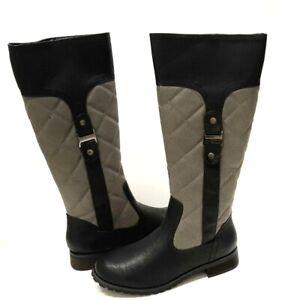 Women's Black Gray Winter Knee High Boots Snow Wide Calf Shoes Waterproof 5.5-10
