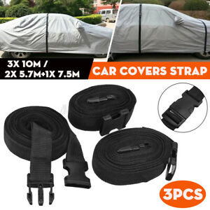 10M / 7.5M+5.7M Car Truck Covers Straps Outdoor Buckle Overbody Stormforce Black