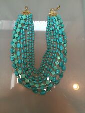 NWOT Faux Turquoise And Gold Beaded Statement Necklace Anthropologie