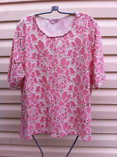 MILLERS PINK & WHITE FLORAL EMBROIDERED STRETCH TOP SIZE 20 BNWOT
