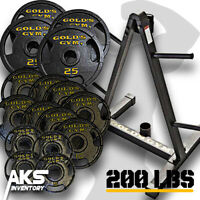 200 Pound Olympic Weight Plate Set & Storage Rack Home Gym Exercise Fitness New