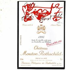 PAUILLAC 1EGCC ETIQUETTE CHATEAU MOUTON ROTHSCHILD 1995 DECOREE 75 CL §08/11/17§
