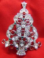 VINTAGE SWAROVSKI YEAR 2002 MARKED w/SWAN CHRISTMAS TREE MULTICOLOR PIN