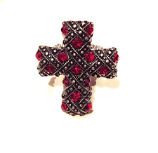 Studded Ancient Metal Cross Cocktail Ring Fashion Jewelry - Red Ruby Rhinestone