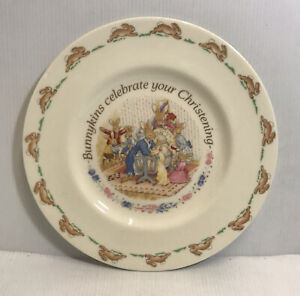 Bunnykind Celebrate Your Christening Plate Royal Doulton 1993